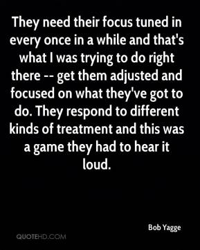 Bob Yagge - They need their focus tuned in every once in a while and that's what I was trying to do right there -- get them adjusted and focused on what they've got to do. They respond to different kinds of treatment and this was a game they had to hear it loud.
