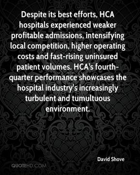 Despite its best efforts, HCA hospitals experienced weaker profitable admissions, intensifying local competition, higher operating costs and fast-rising uninsured patient volumes. HCA's fourth-quarter performance showcases the hospital industry's increasingly turbulent and tumultuous environment.
