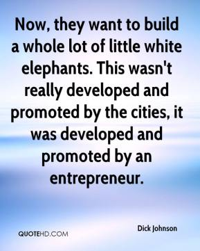 Dick Johnson - Now, they want to build a whole lot of little white elephants. This wasn't really developed and promoted by the cities, it was developed and promoted by an entrepreneur.