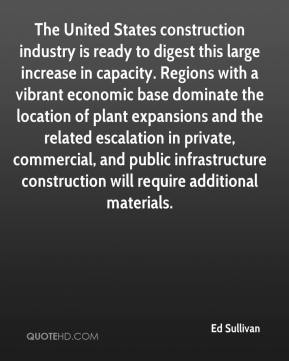 Ed Sullivan - The United States construction industry is ready to digest this large increase in capacity. Regions with a vibrant economic base dominate the location of plant expansions and the related escalation in private, commercial, and public infrastructure construction will require additional materials.