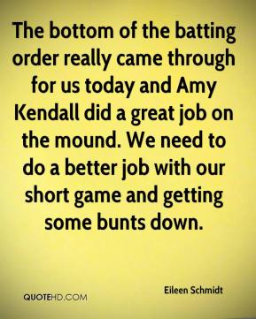 The bottom of the batting order really came through for us today and Amy Kendall did a great job on the mound. We need to do a better job with our short game and getting some bunts down.
