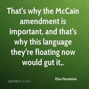 That's why the McCain amendment is important, and that's why this language they're floating now would gut it.