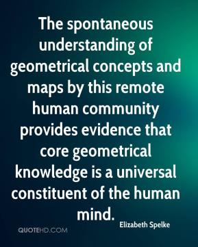 Elizabeth Spelke - The spontaneous understanding of geometrical concepts and maps by this remote human community provides evidence that core geometrical knowledge is a universal constituent of the human mind.