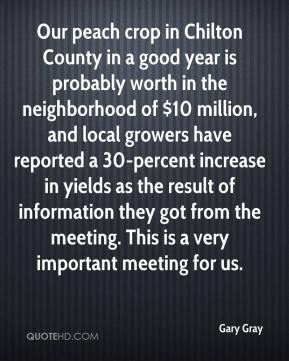 Gary Gray - Our peach crop in Chilton County in a good year is probably worth in the neighborhood of $10 million, and local growers have reported a 30-percent increase in yields as the result of information they got from the meeting. This is a very important meeting for us.
