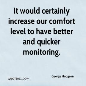 George Hodgson - It would certainly increase our comfort level to have better and quicker monitoring.