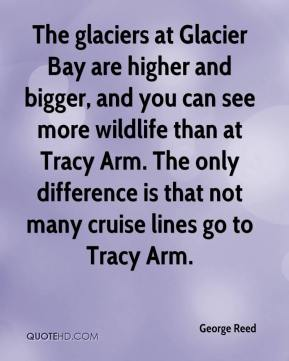 George Reed - The glaciers at Glacier Bay are higher and bigger, and you can see more wildlife than at Tracy Arm. The only difference is that not many cruise lines go to Tracy Arm.