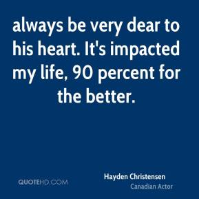 Hayden Christensen - always be very dear to his heart. It's impacted my life, 90 percent for the better.