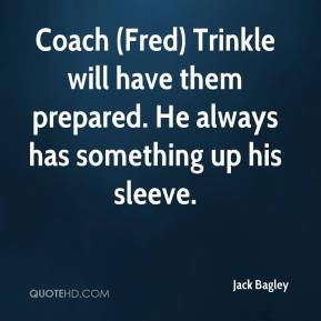 Jack Bagley - Coach (Fred) Trinkle will have them prepared. He always has something up his sleeve.