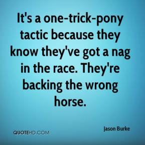 It's a one-trick-pony tactic because they know they've got a nag in the race. They're backing the wrong horse.