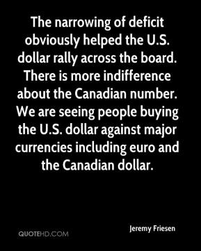 Jeremy Friesen  - The narrowing of deficit obviously helped the U.S. dollar rally across the board. There is more indifference about the Canadian number. We are seeing people buying the U.S. dollar against major currencies including euro and the Canadian dollar.