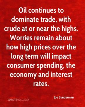 Joe Sunderman  - Oil continues to dominate trade, with crude at or near the highs. Worries remain about how high prices over the long term will impact consumer spending, the economy and interest rates.