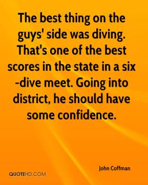 The best thing on the guys' side was diving. That's one of the best scores in the state in a six-dive meet. Going into district, he should have some confidence.