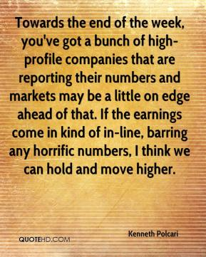 Kenneth Polcari  - Towards the end of the week, you've got a bunch of high-profile companies that are reporting their numbers and markets may be a little on edge ahead of that. If the earnings come in kind of in-line, barring any horrific numbers, I think we can hold and move higher.