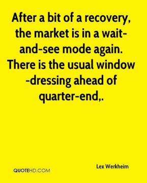 After a bit of a recovery, the market is in a wait-and-see mode again. There is the usual window-dressing ahead of quarter-end.