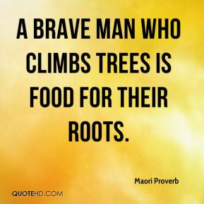 Maori Proverb  - A brave man who climbs trees is food for their roots.