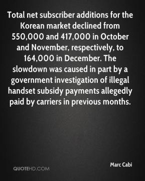 Marc Cabi  - Total net subscriber additions for the Korean market declined from 550,000 and 417,000 in October and November, respectively, to 164,000 in December. The slowdown was caused in part by a government investigation of illegal handset subsidy payments allegedly paid by carriers in previous months.