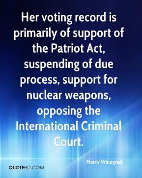 Marcy Winograd  - Her voting record is primarily of support of the Patriot Act, suspending of due process, support for nuclear weapons, opposing the International Criminal Court.