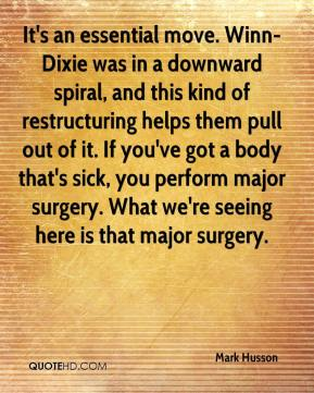 It's an essential move. Winn-Dixie was in a downward spiral, and this kind of restructuring helps them pull out of it. If you've got a body that's sick, you perform major surgery. What we're seeing here is that major surgery.