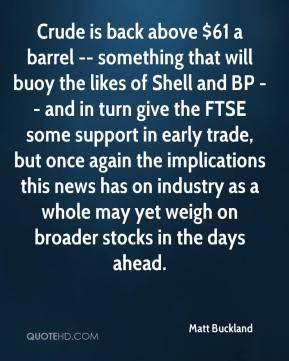 Matt Buckland  - Crude is back above $61 a barrel -- something that will buoy the likes of Shell and BP -- and in turn give the FTSE some support in early trade, but once again the implications this news has on industry as a whole may yet weigh on broader stocks in the days ahead.