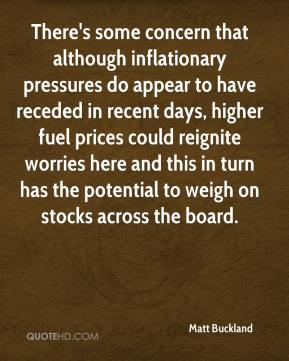 Matt Buckland  - There's some concern that although inflationary pressures do appear to have receded in recent days, higher fuel prices could reignite worries here and this in turn has the potential to weigh on stocks across the board.