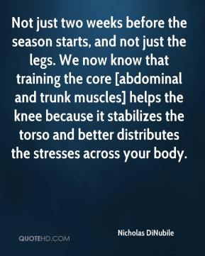 Nicholas DiNubile  - Not just two weeks before the season starts, and not just the legs. We now know that training the core [abdominal and trunk muscles] helps the knee because it stabilizes the torso and better distributes the stresses across your body.