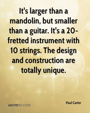 Paul Carter  - It's larger than a mandolin, but smaller than a guitar. It's a 20-fretted instrument with 10 strings. The design and construction are totally unique.