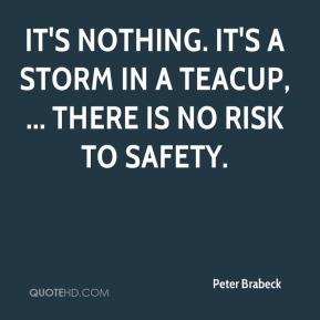 It's nothing. It's a storm in a teacup, ... There is no risk to safety.