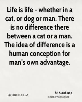 Sri Aurobindo - Life is life - whether in a cat, or dog or man. There is no difference there between a cat or a man. The idea of difference is a human conception for man's own advantage.