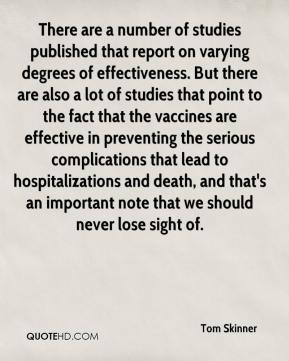 Tom Skinner  - There are a number of studies published that report on varying degrees of effectiveness. But there are also a lot of studies that point to the fact that the vaccines are effective in preventing the serious complications that lead to hospitalizations and death, and that's an important note that we should never lose sight of.