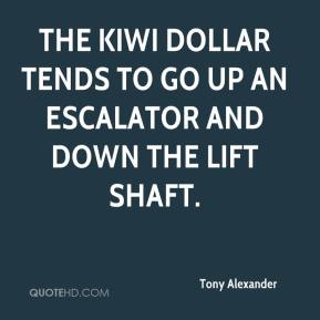 Tony Alexander  - The kiwi dollar tends to go up an escalator and down the lift shaft.