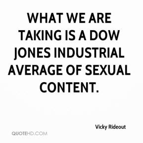 Vicky Rideout  - What we are taking is a Dow Jones industrial average of sexual content.