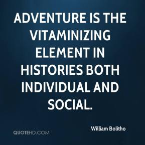 Adventure is the vitaminizing element in histories both individual and social.