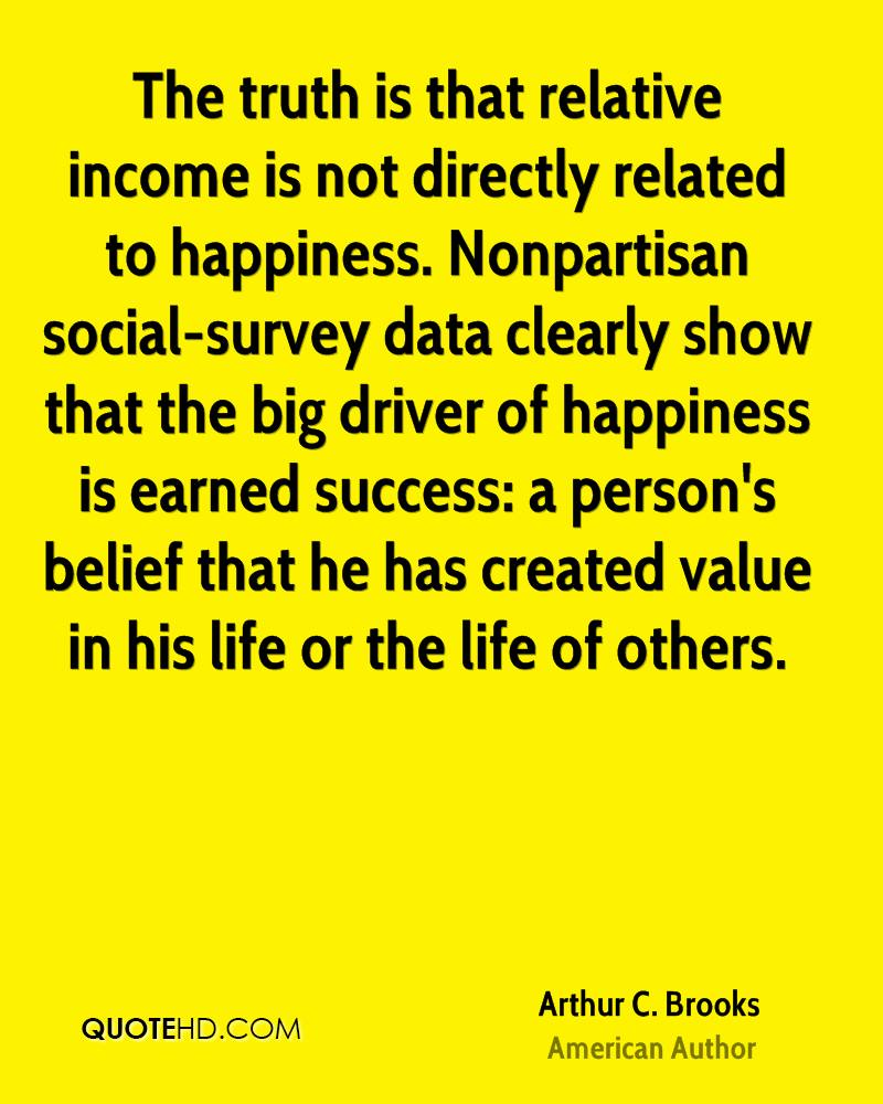 The truth is that relative income is not directly related to happiness. Nonpartisan social-survey data clearly show that the big driver of happiness is earned success: a person's belief that he has created value in his life or the life of others.
