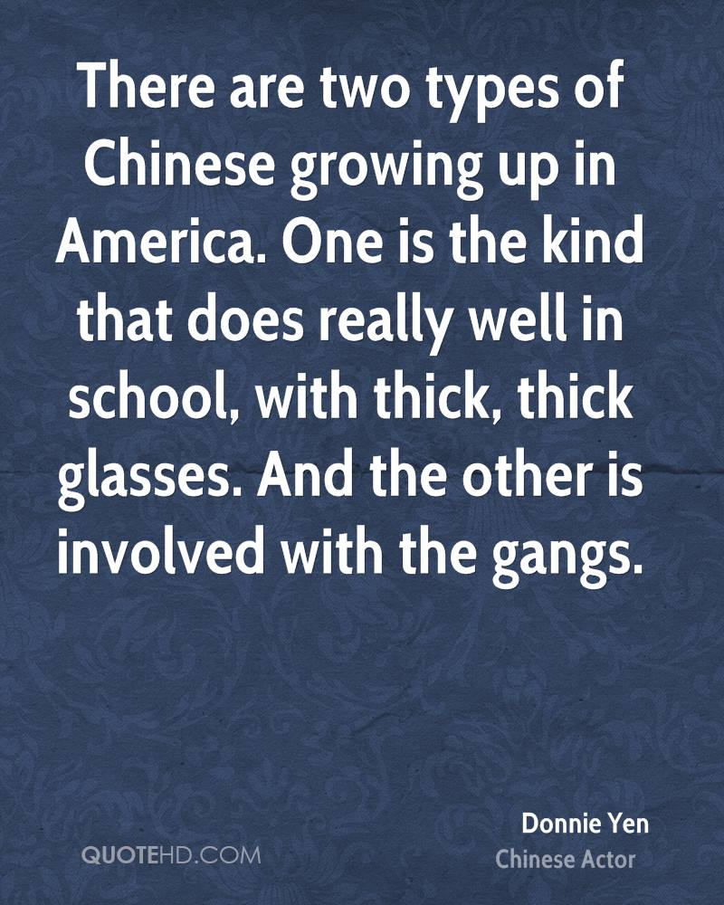 There are two types of Chinese growing up in America. One is the kind that does really well in school, with thick, thick glasses. And the other is involved with the gangs.