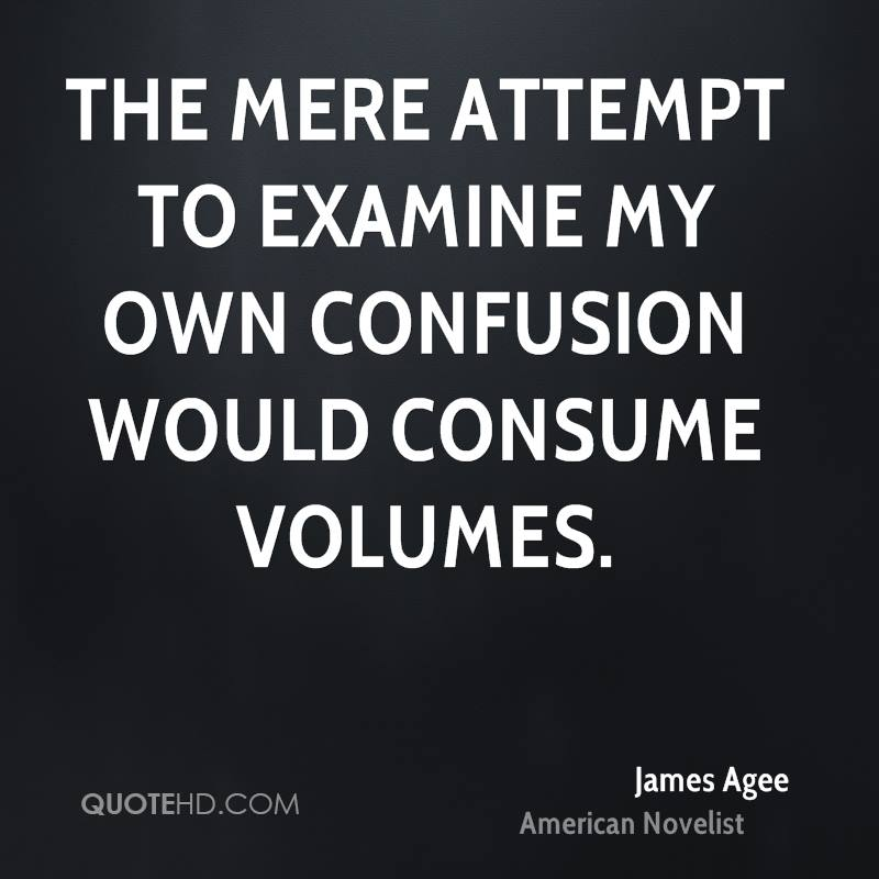 The mere attempt to examine my own confusion would consume volumes.