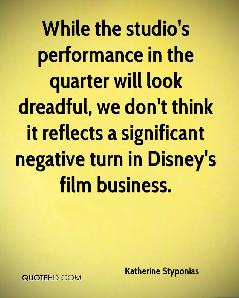 While the studio's performance in the quarter will look dreadful, we don't think it reflects a significant negative turn in Disney's film business.