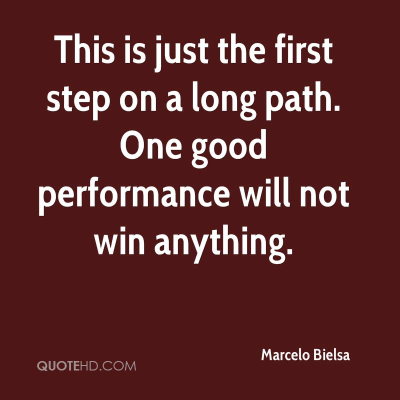 This is just the first step on a long path. One good performance will not win anything.