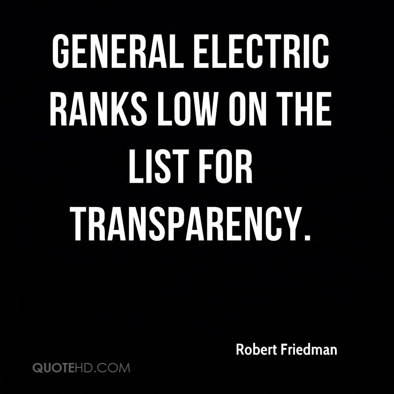 General Electric ranks low on the list for transparency.