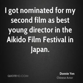 I got nominated for my second film as best young director in the Aikido Film Festival in Japan.