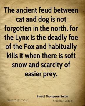 Ernest Thompson Seton - The ancient feud between cat and dog is not forgotten in the north, for the Lynx is the deadly foe of the Fox and habitually kills it when there is soft snow and scarcity of easier prey.