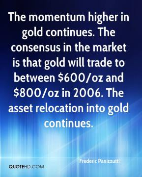 Frederic Panizzutti - The momentum higher in gold continues. The consensus in the market is that gold will trade to between $600/oz and $800/oz in 2006. The asset relocation into gold continues.