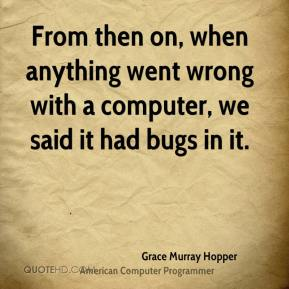 From then on, when anything went wrong with a computer, we said it had bugs in it.