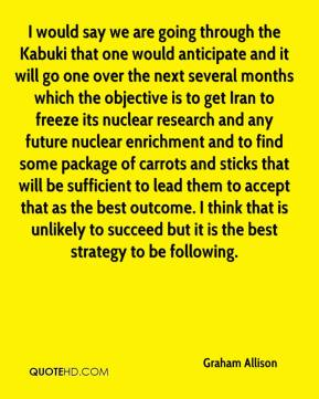 Graham Allison - I would say we are going through the Kabuki that one would anticipate and it will go one over the next several months which the objective is to get Iran to freeze its nuclear research and any future nuclear enrichment and to find some package of carrots and sticks that will be sufficient to lead them to accept that as the best outcome. I think that is unlikely to succeed but it is the best strategy to be following.