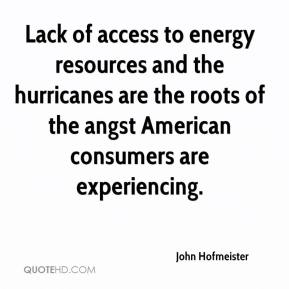 Lack of access to energy resources and the hurricanes are the roots of the angst American consumers are experiencing.