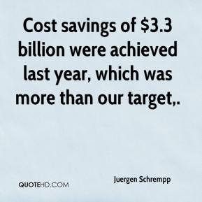 Juergen Schrempp  - Cost savings of $3.3 billion were achieved last year, which was more than our target.