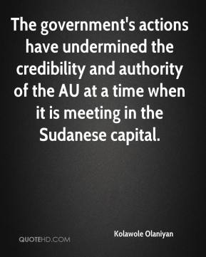 The government's actions have undermined the credibility and authority of the AU at a time when it is meeting in the Sudanese capital.