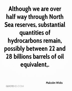 Malcolm Wicks  - Although we are over half way through North Sea reserves, substantial quantities of hydrocarbons remain, possibly between 22 and 28 billions barrels of oil equivalent.