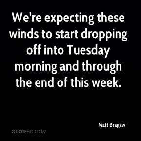 Matt Bragaw  - We're expecting these winds to start dropping off into Tuesday morning and through the end of this week.