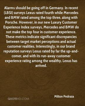 Milton Pedraza  - Alarms should be going off in Germany. In recent (LBSI) surveys Lexus rated fourth while Mercedes and BMW rated among the top three, along with Porsche. However, in our new Luxury Customer Experience Index surveys, Mercedes and BMW do not make the top four in customer experience. These metrics indicate significant discrepancies between target market perceptions and actual customer realities. Interestingly, in our brand reputation surveys Lexus rated by far the up-and-comer, and with its run-away customer experience rating among the wealthy, Lexus has arrived.