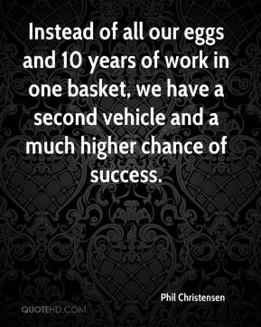 Instead of all our eggs and 10 years of work in one basket, we have a second vehicle and a much higher chance of success.